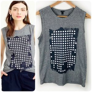 J. Crew Gray Graphic Dot Muscle Tank Top